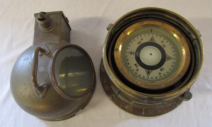 A brass ship's binnacle with spirit lamp PATT.0183 no 21183K H 26 cm - Image 4 of 7