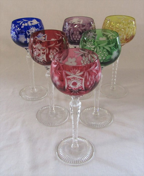 6 harlequin / coloured Hock glasses H 21.5 cm