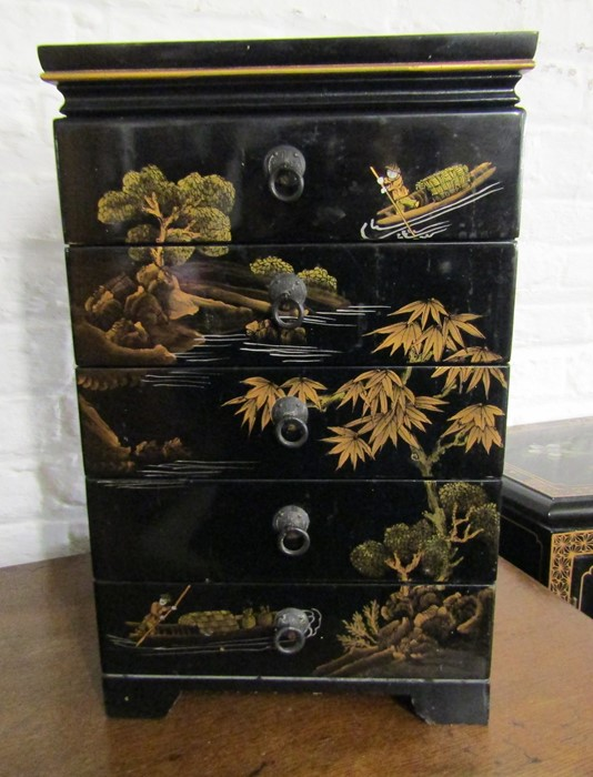 Small Oriental lacquer 5 draw cabinet / jewellery box H 48 cm L 30 cm D 25.5 cm & a cabinet with - Image 3 of 12