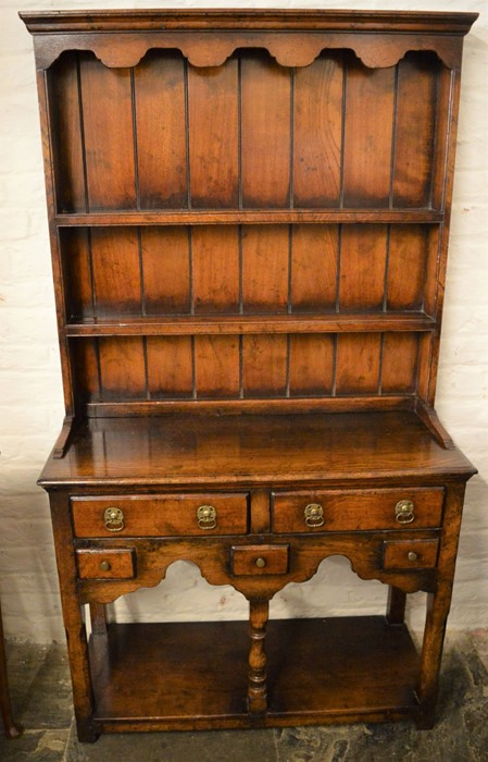 Titchmarsh & Goodwin miniature oak dresser base & rack (2020 Retail Price List £2420) Ht 161cm W