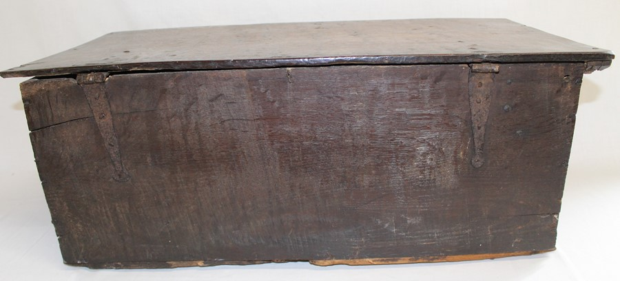 Antique oak bible box with carved front panel and later lined interior, width 71cm, height 28cm, - Image 4 of 4