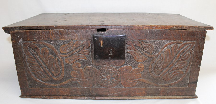 Antique oak bible box with carved front panel and later lined interior, width 71cm, height 28cm,