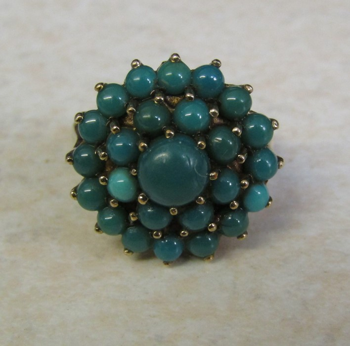 9ct gold turquoise cluster ring, size J/K, hallmarked London 1979, total weight 5.1 g - Image 2 of 6