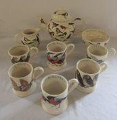 Emma Bridgewater British birds teapot, sugar bowl, milk jug and 6 mugs