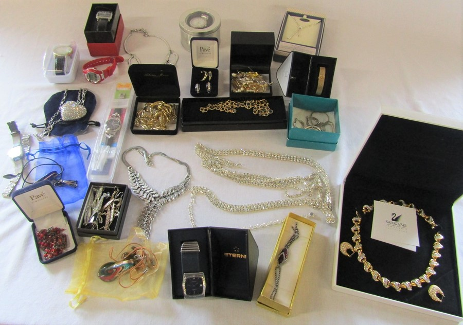 Selection of costume jewellery and watches inc Swarovski