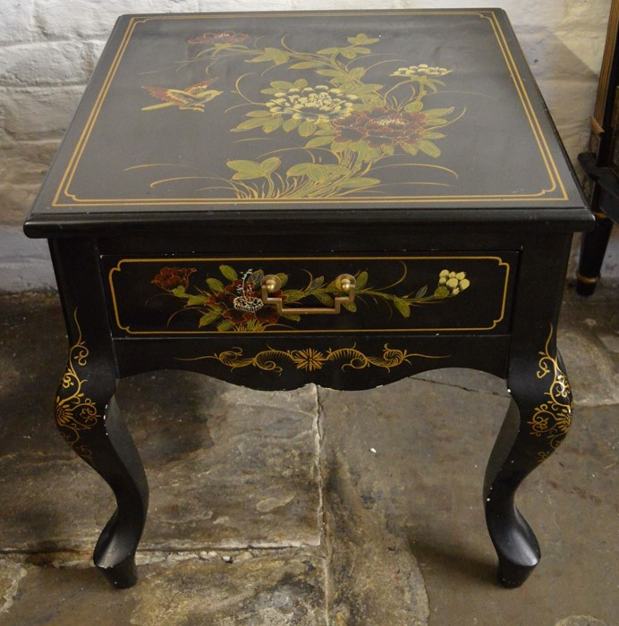 Oriental lacquer cabinet on cabriole legs H55cm Top 51cm by 51cm