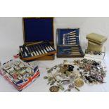 Selection of costume jewellery, Pinchbeck fob seal, Del Prado trinket pots & 2 cased cutlery sets