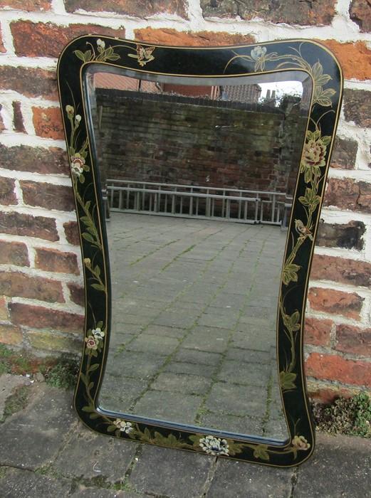 Oriental black lacquered mirror 51 cm x 81 cm