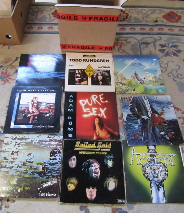 48 hard rock / prog rock albums / LPs including Saxon, Slade, Status Quo, Humble Pie, Van Halen, - Image 2 of 3