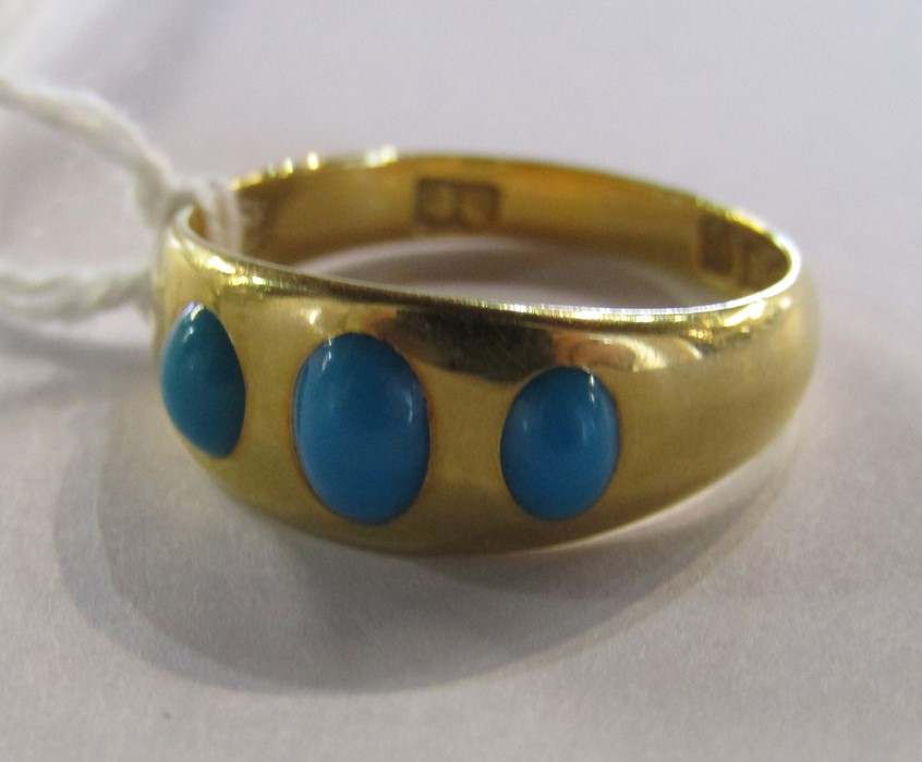 18ct gold turquoise ring size O weight 3.9 g - Image 11 of 11