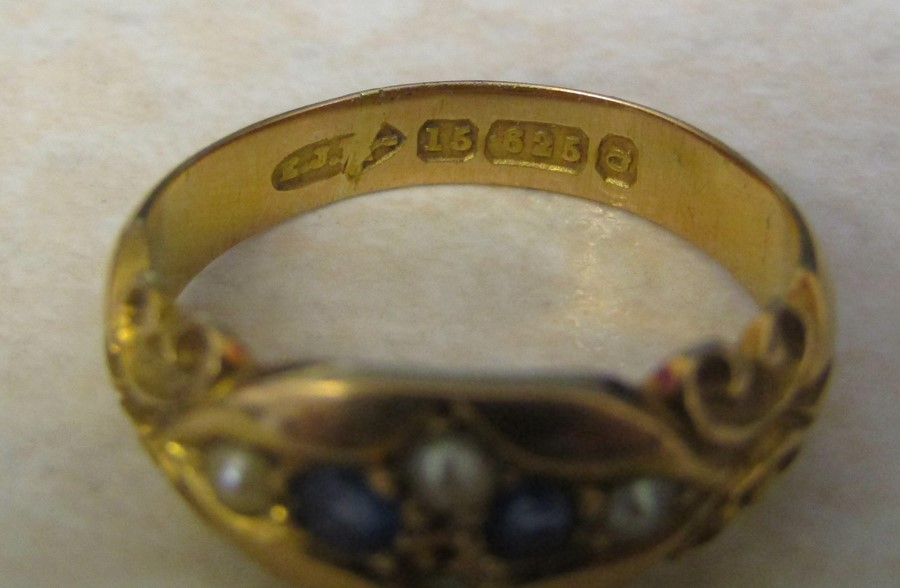 Victorian 15ct gold sapphire and seed pearl ring (missing one seed pearl) size L/M weight 3.7 g - Image 4 of 4