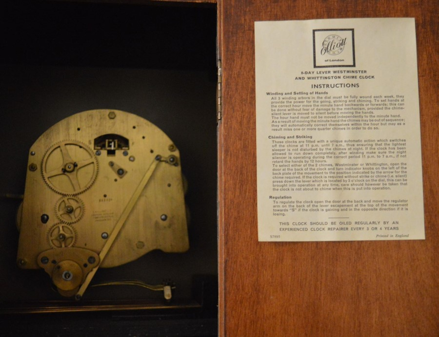 20th century Elliott longcase clock with spring driven mechanism, Westminster & Whittington chimes - Image 3 of 3