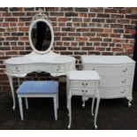 French style white & gilt dressing table, stool (not matching), chest of drawers and bedside