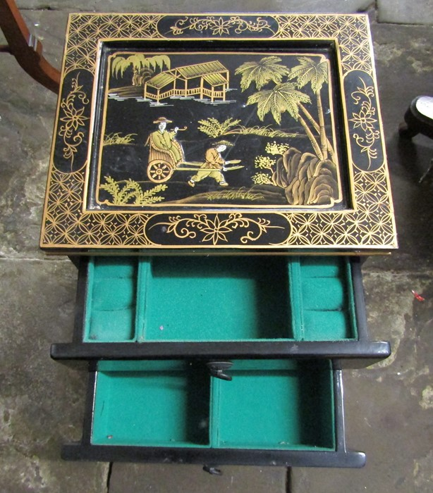 Small Oriental lacquer 5 draw cabinet / jewellery box H 48 cm L 30 cm D 25.5 cm & a cabinet with - Image 6 of 12