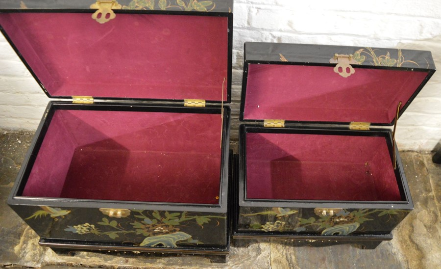 Pair of Oriental lacquer graduated chests on bases. Largest L58cm D 38cm Ht 44cm - Image 3 of 8