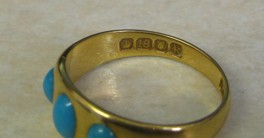 18ct gold turquoise ring size O weight 3.9 g - Image 3 of 11