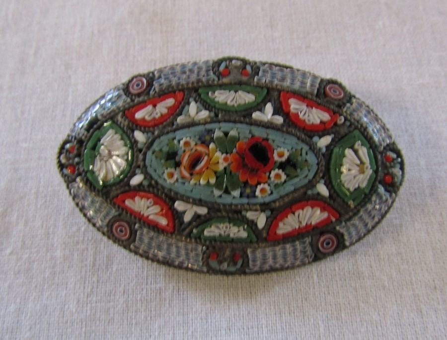 Micro mosaic brooch 5 cm x 3.5 cm