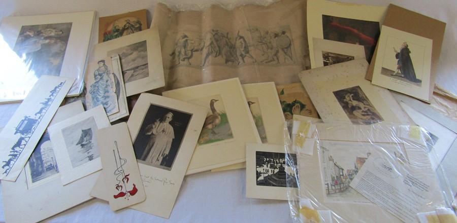 Selection of unframed prints inc Rachel Badeau, miniature painting of a dog etc