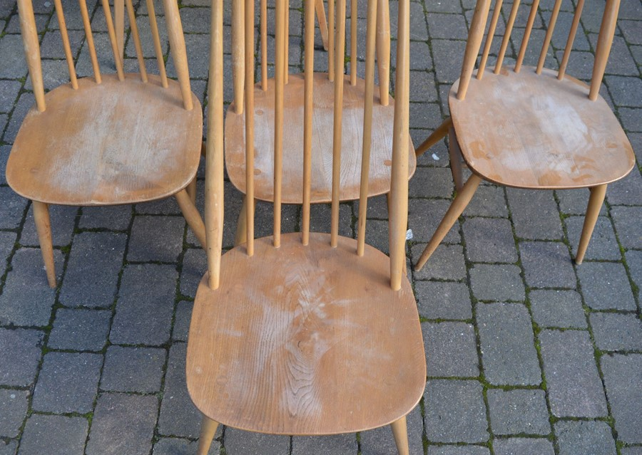 Ercol drop leaf table (marked top) 112cm by 124cm & 4 Ercol comb back chairs - Image 2 of 6