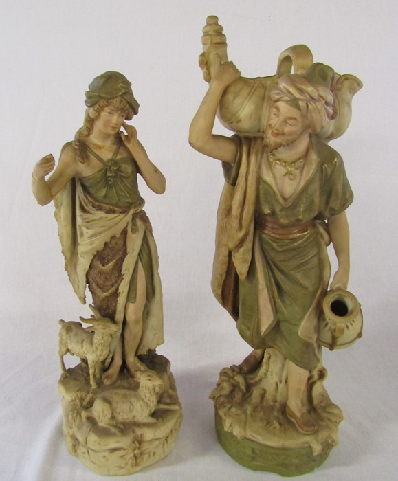 Selection of ceramics inc Royal Dux 1052 water carrier H 41 cm and 136 shepherdess H 37 cm (