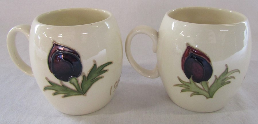 2 Moorcroft anemone mugs dated 1985 one marked Liberty H 9.5 cm - Image 2 of 4