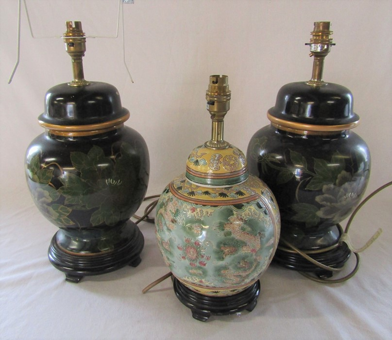 Pair of Oriental style table lamps and one other H 42 cm and 35 cm
