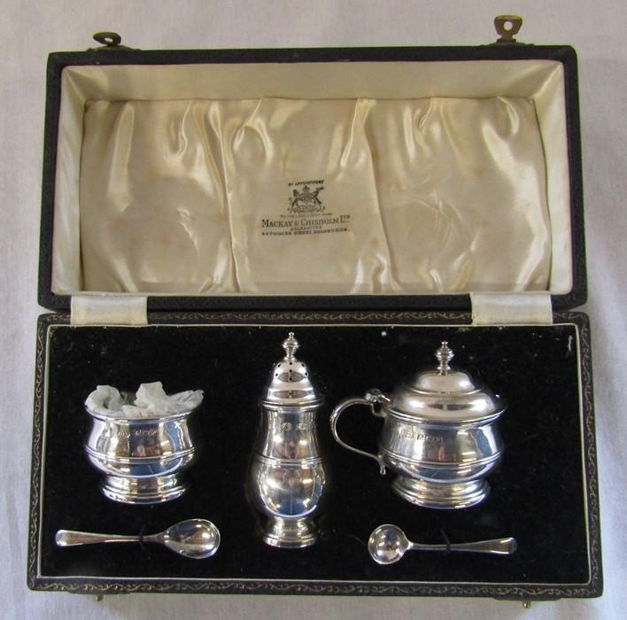 Boxed silver condiment set by Adie Brothers Ltd, Birmingham 1955 retailed by Mackay & Chisholm Ltd