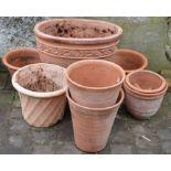 Various terracotta planters