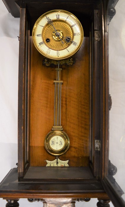 Vienna regulator wall clock with a 2 train spring driven mechanism with stained wood decorated - Image 2 of 3