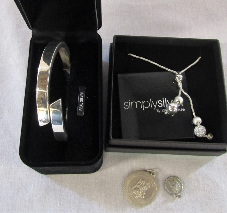 Silver bangle marked 925 (hinged) 0.63 ozt D 6.5 cm, Simply Silver necklace by Jon Richard 0.12