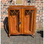 1920s double bow fronted display cabinet with 2 glass shelves W 100cm Ht 128cm