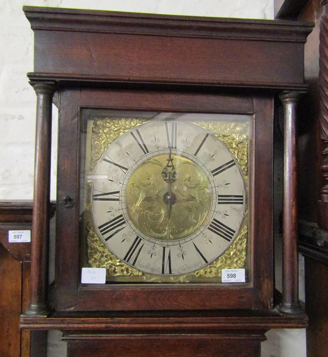 18th century 30 hour long case clock with brass and silver dial engraved 'Smorthwait in - Image 7 of 15