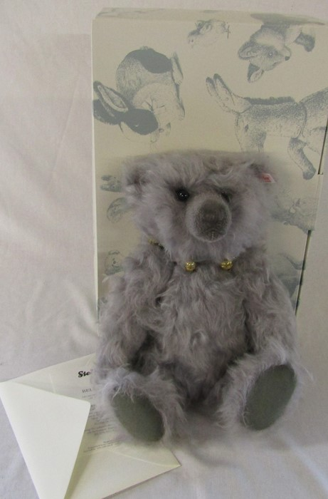 Steiff Bell boy teddy bear, grey, 40 cm, 2008, limited edition 854/2000, with growler, complete with