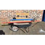 Wheelbarrow, Ryobi work bench, Stanley folding square, 3 spirit levels and various clamps