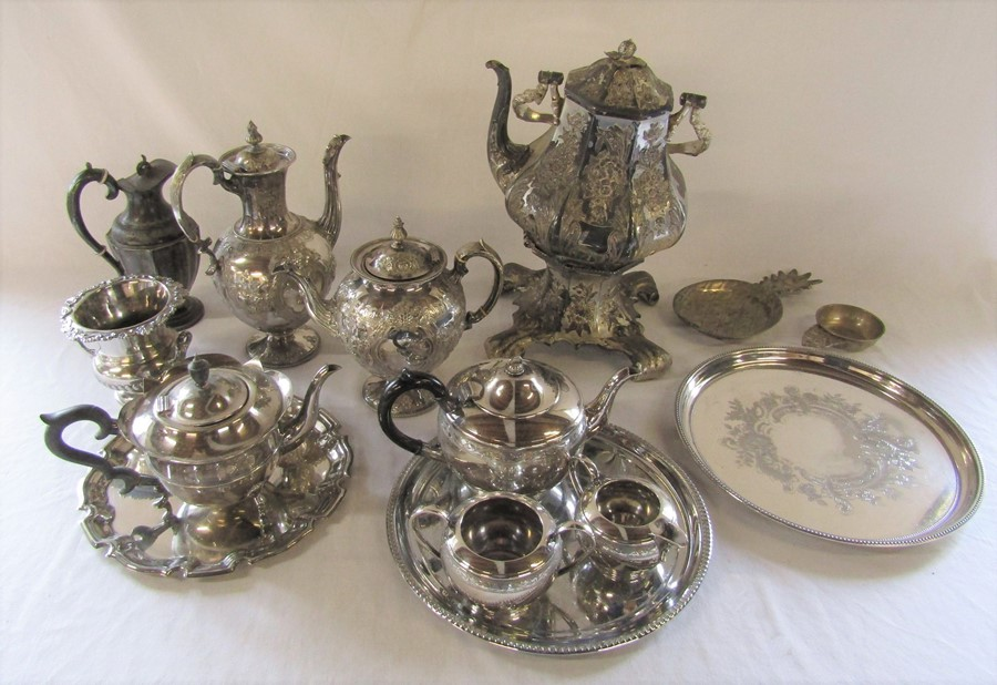 Various silver plate inc trays, part tea services and spirit kettle