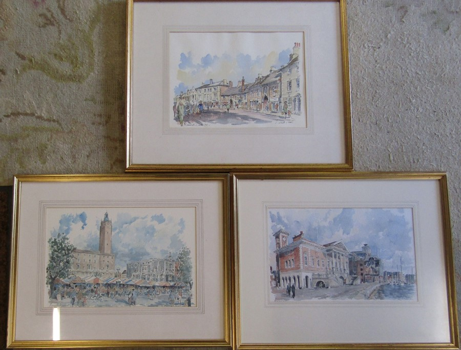 Derick Abel - framed watercolour of Market Deeping 62 cm x 52 cm (size including frame) with two