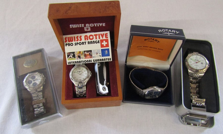 4 boxed Gents wrist watches - Jeep, Swiss active, Rotary and Guess chronograph