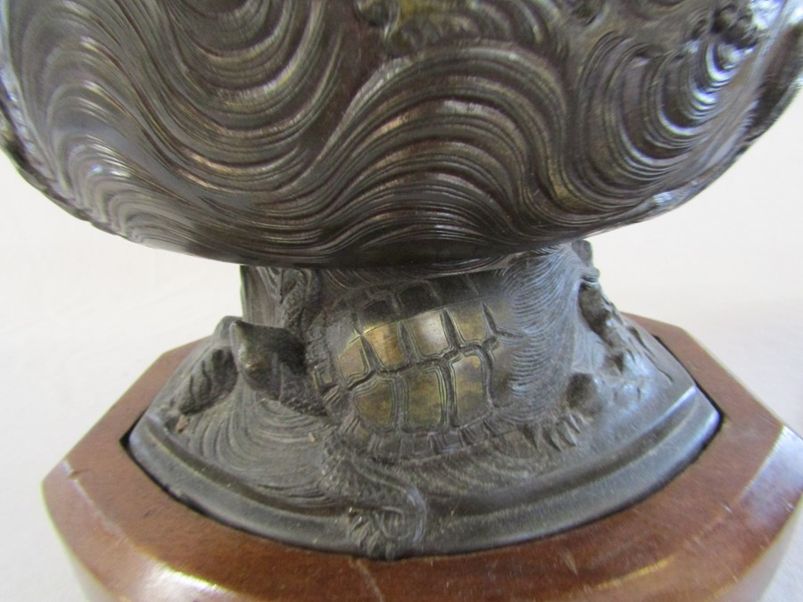 Japanese bronze two piece Usabata flower vase with wooden stand H 38.5 cm L 35 cm - Image 9 of 13