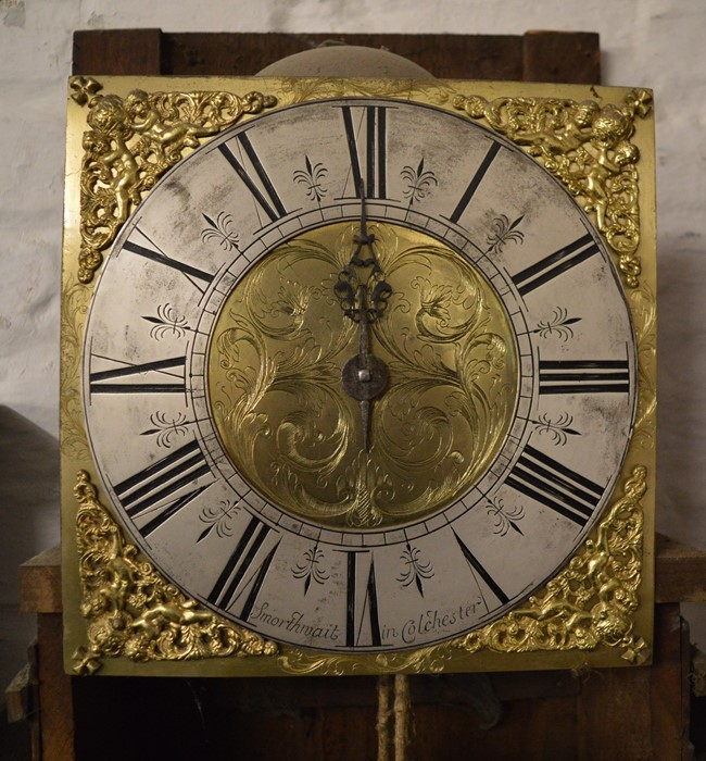 18th century 30 hour long case clock with brass and silver dial engraved 'Smorthwait in - Image 6 of 15