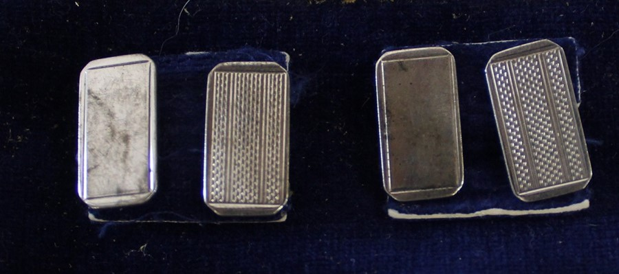 Pair of silver cufflinks Birmingham 1968 & selection of silver plate including Wembley 1924 napkin - Image 2 of 2