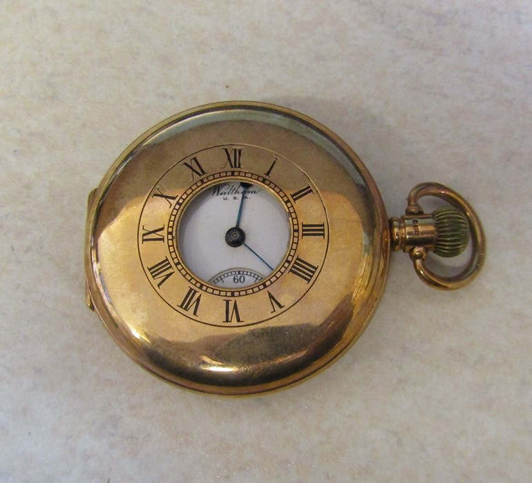 9ct gold half hunter Waltham pocket watch (glass broken), Birmingham 1926, engraved to Jos Chapman - Image 5 of 5