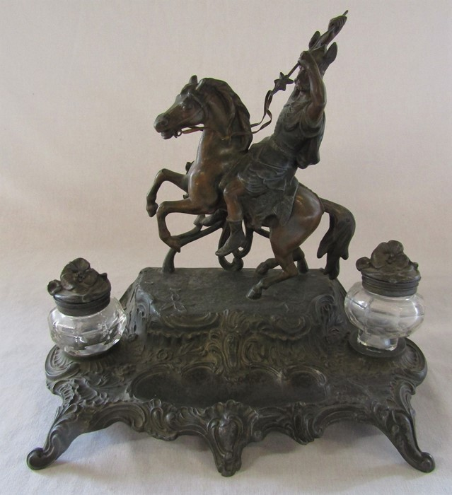 A French early 20th century spelter ink stand / desk stand of a hunting man on horseback signed A