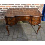 Good quality reproduction Georgian lowboy on cabriole legs carved with shell motif with quarter
