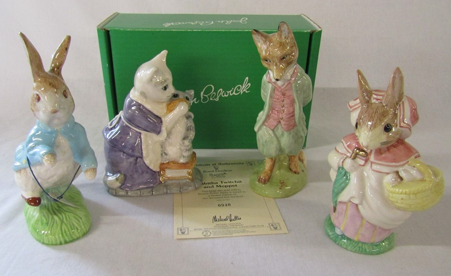 4 large Beswick Beatrix Potter figurines - Tabitha Twitchet and Moppet 940/2500 H 14 cm with box and