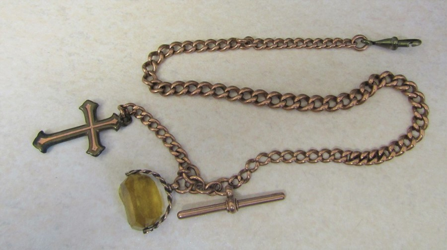 9ct gold watch chain and fob and gold plated cross and fastening, total weight 44.6 g (weight