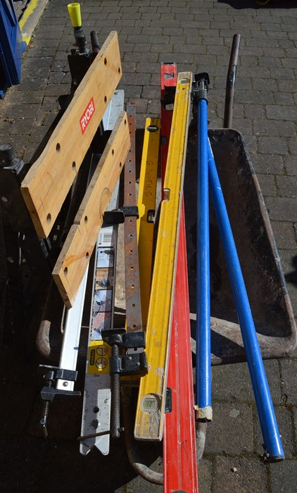 Wheelbarrow, Ryobi work bench, Stanley folding square, 3 spirit levels and various clamps - Image 2 of 2