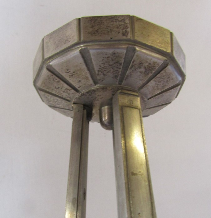 Art Deco nickel plated bronze 6 branch light fitting H 64 cm - Image 3 of 4