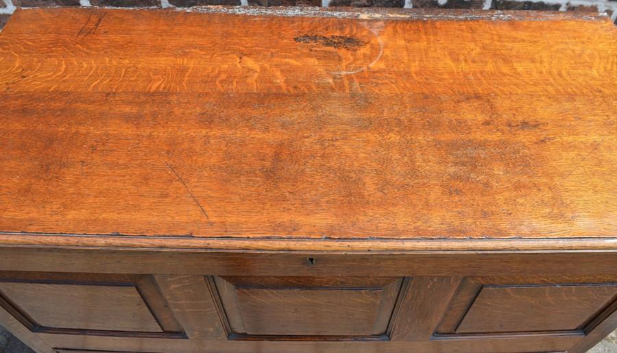 Georgian oak mule chest on bracket feet L 123cm D 55cm Ht 82cm - Image 2 of 18