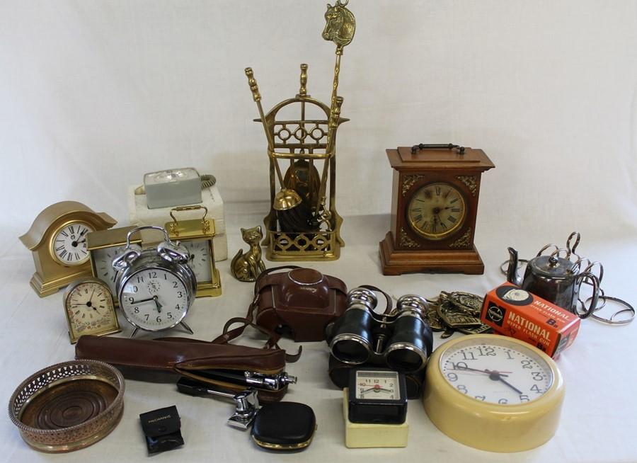 Junghans timepiece mantel clock, brass companion set, Kodak Retinette camera, field glasses etc.