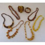 Selection of Baltic amber necklaces and bracelets